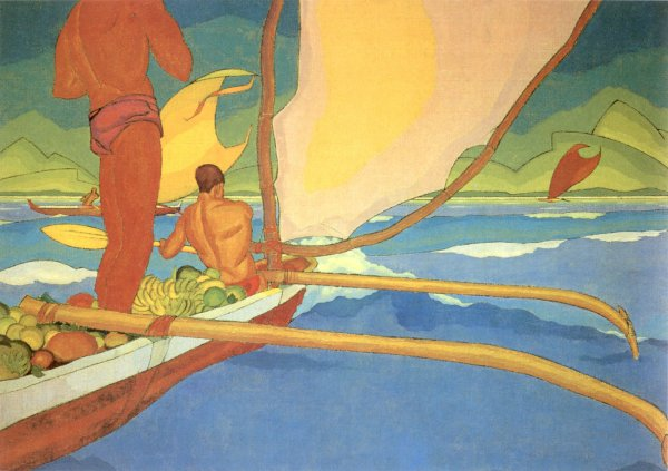 Arman Manookian Men in an Outrigger Canoe Headed for Shore oil on canvas c 1929